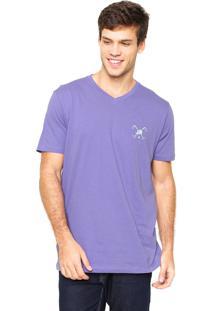 Camiseta Polo Play Bordado Roxa