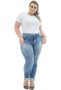 Calça Jeans Confidencial Extra Plus Size Cigarrete Destroyed Feminina - Feminino