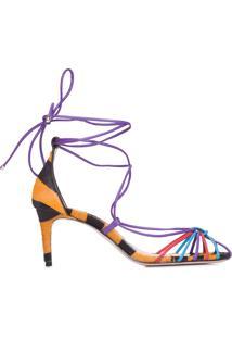 Sandália Feminina Mid Heel Lace Up Color - Animal Print