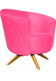 Poltrona Decorativa Angel Gomada Suede Rosa Barbie Com Base Giratória Madeira - D'Rossi