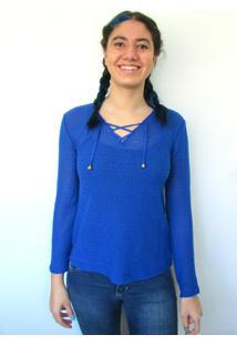 Blusa Bon Em Tricô Azul - Tricae