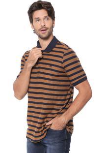 Camisa Polo Hering Listrada Azul-Marinho/Caramelo