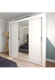 Guarda-Roupa Casal 2 Metros 3 Portas De Correr Com Espelho London Branco - Pnr Móveis