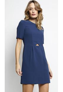 Vestido Com Pregas & Recortes- Azul Marinholacoste