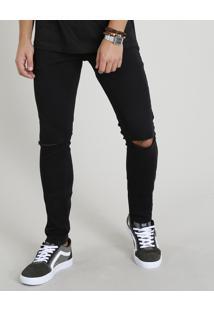 Calça Skinny De Sarja Masculina Com Bolsos Preta