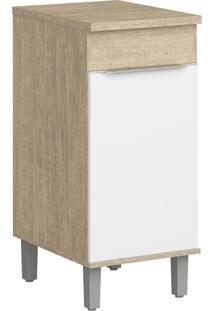 Armário De Cozinha 1 Porta Com Pés Cs602P Acácia/Branco - Decibal Móveis