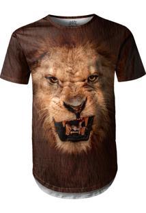 Camiseta Longline Over Fame Leão Preta