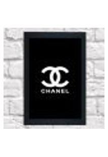 Quadro Decorativo Sala Metal Logo Chanel Cor Preto 40X50X2Cm