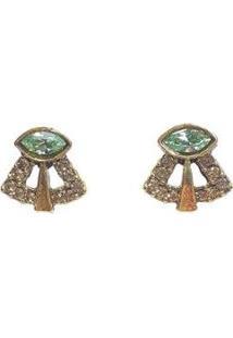 Brinco Pequeno Armazem Rr Bijoux Cristal Swarovski Verde Dourado - Feminino