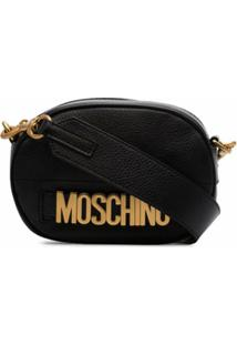Moschino Camera Bag De Couro Com Logo - Preto