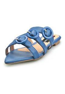 Sandalia Love Shoes Rasteira Bico Folha