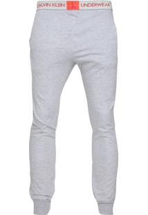 Calça Moletom Calvin Klein Underwear Jogger Logo Cinza