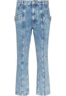 Isabel Marant Étoile Calça Jeans Cropped Com Recortes - Azul