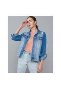 Amaro Feminino Jaqueta Jeans Com Puídos, Azul Médio