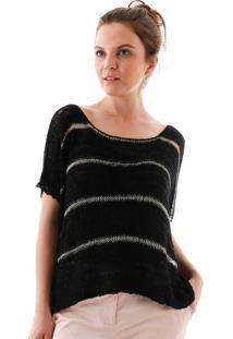 Blusa Aha Bata Crochet Detalhe Brilho 1 Preto