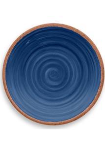 Prato De Sobremesa Rústico Redondo Em Melamina 22 Cm Azul