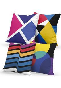 Kit 4 Capas De Almofadas Decorativas Own Formas Coloridas 45X45 - Somente Capa