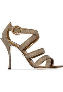 Dolce & Gabbana Sandália Keira Com Efeito De Brilho E Salto 105Mm - Metálico