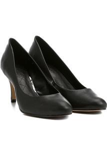 Scarpin Shoestock Salto Médio Matelassê - Feminino-Preto