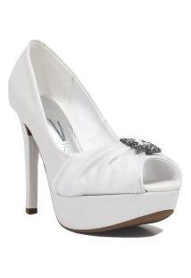 Sapato Vizzano Peep Toe Salto Fino Noivas