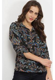 Camisa Marialicia Estampada Botões Feminina - Feminino-Preto