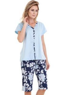 Pijama Capri Manga Curta Floral Feminino Em Algodão Luna Cuore Azul Floral P
