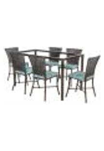 Jogo De Jantar 6 Cadeiras Turquia Tabaco A22 E 1 Mesa Retangular Sem Tampo Ideal Para Área Externa Coberta