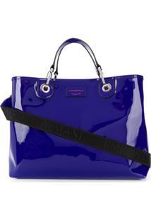 Emporio Armani Bolsa Tote Shopping Com Patch De Logo - Azul