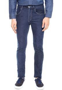 Calça Jeans Rock Blue Skinny Pespontos Azul-Marinho