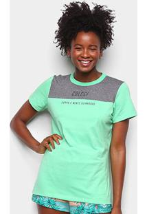 Camiseta Colcci Corpo E Mente Feminina - Feminino-Verde Escuro