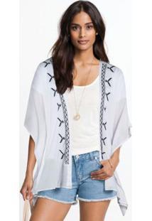 Kimono Com Abertura Bordada Branco