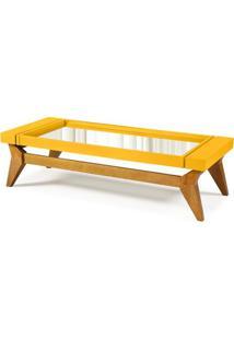 Mesa De Centro Crystal Cor Amendoa Com Amarelo