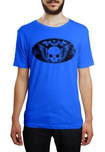 Camiseta Hshop Caveira Vintage - Azul Turquesa