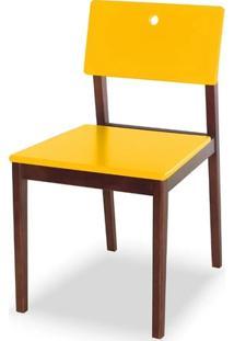 Cadeira Flip Cor Cacau Com Amarelo - 30823