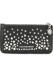Alexander Mcqueen Carteira 'Zippered Card Holder' De Couro - Preto