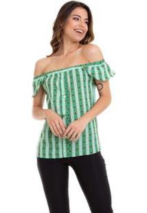 Blusa Kinara Crepe Estampada Ciganinha Feminina - Feminino-Marrom+Verde Limão