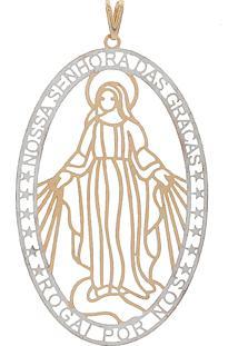 Pingente Narcizza Semijoias Vazado Nossa Senhora Das Graças Grande - Ouro Rose - Kanui