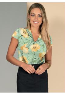 Blusa Floral Verde Com Gola