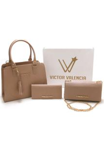 Kit Versalhes Duas Bolsas Mais Carteira Victor Valencia - - Kanui