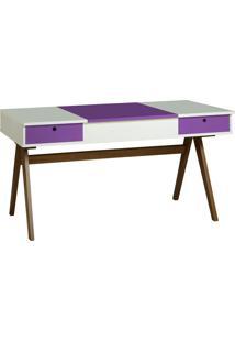 Mesa Escrivaninha Delacroix 430 Nogal/Branco/Roxo - Maxima