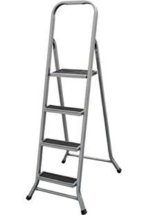 Escada Em Aço Metalmix Cor Alumínio 4 Degraus Artimix
