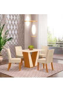 Conjunto De Mesa Com 4 Cadeiras Para Sala De Jantar Roma-Henn - Nature / Off White / Bege