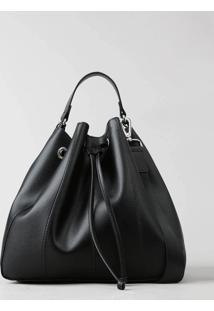 Bolsa Saco Feminina Grande Com Alça Transversal Removível Preta - Único