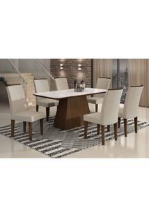 Conjunto De Mesa Lunara I 180 Cm Com 6 Cadeiras Veludo Castor E Creme