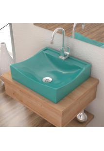 Cuba De Apoio P/Banheiro Compace Lunna Q44W Retangular Azul Turquesa