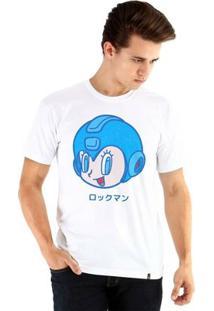Camiseta Ouroboros Manga Curta Vintage Mega Man - Masculino-Branco
