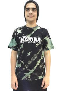 Camiseta Narina Skate Tie Dye Logo Preto E Verde