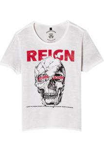 Camiseta John John Rx Skull Reign Malha Algodão Off White Masculina (Off White, P)
