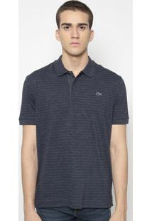 Polo Regular Fit Listrada- Azul Marinholacoste