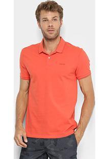 Camisa Polo Calvin Klein Slim Masculina - Masculino-Laranja